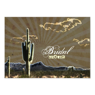 "Rustic country Texas cactus western bridal shower 5"" X 7"" Invitation Card"