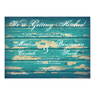 Rustic Country Turquoise Wood Wedding Invitations