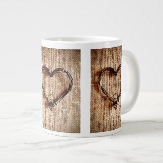 Rustic Country Twine Heart on Burlap Print Large Coffee Mug