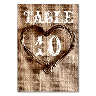 Rustic Country Twine Heart Wedding Table Numbers