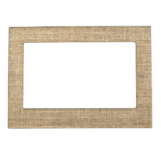 Rustic Country Vintage Burlap Photo Frame Magnets