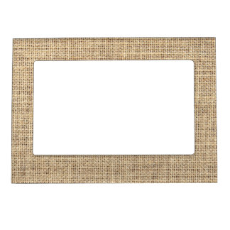 Rustic Country Vintage Burlap Picture Frame Magnets