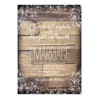 Rustic Country Wood Flourish Wedding Invitations