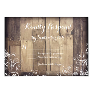 Rustic Country Wood Flourish Wedding RSVP Cards