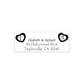 Rustic Couple Hearts   Wedding Return Address Self-inking Stamp