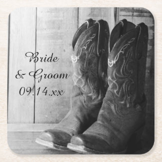 Rustic Cowboy Boots Western Wedding Square Paper Coaster