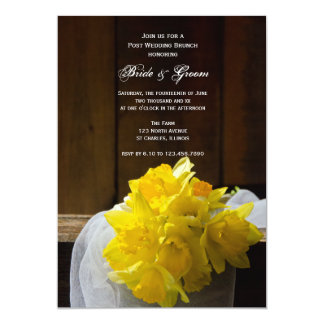Rustic Daffodils and Barn Wood Post Wedding Brunch Card