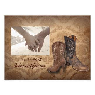rustic damask Western Cowboy wedding Photo Print