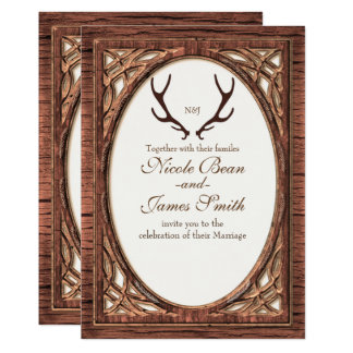 Rustic Deer Antlers Two Tone Wood Look Invitation