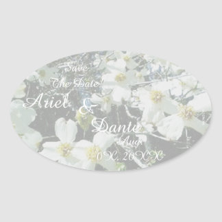Rustic Dogwood Blossom Wedding Handfasting Pastel Oval Sticker