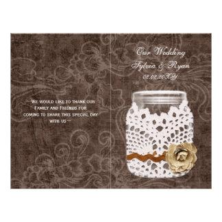 rustic doily mason jar book fold Wedding program 21.5 Cm X 28 Cm Flyer