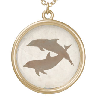 Rustic Dolphins Beach Wedding Gold Plated Necklace