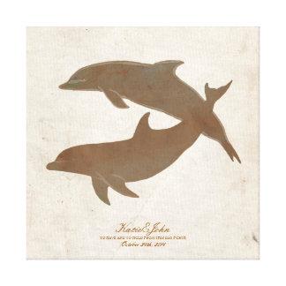 Rustic Dolphins Beach Wedding Guest Book Canvas Print