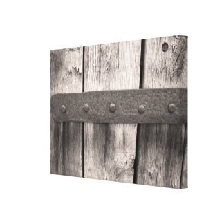 Rustic Door with Hinge Wrapped Canvas Print