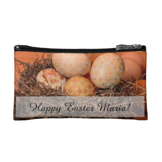 Rustic Easter eggs in nest Cosmetics Bags