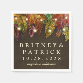 Rustic Fall Leaves and Lights Wedding Napkins Disposable Napkin