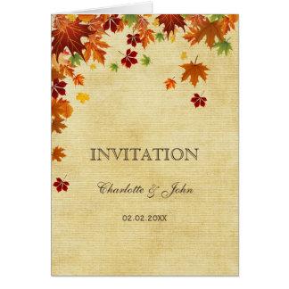 Rustic,fall leaves, fall wedding  invitations