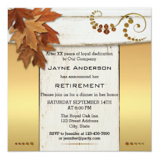 Rustic Fall Leaves Retirement Party Invitation