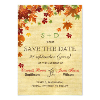 Rustic ,fall leaves save the date magnetic invitations