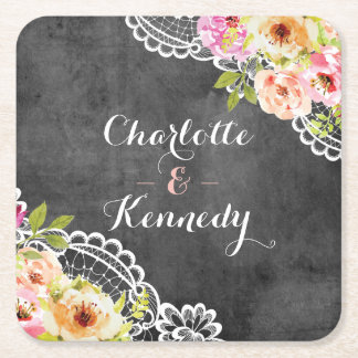 Rustic Farmhouse Wedding Roses & Lace Chalkboard Square Paper Coaster