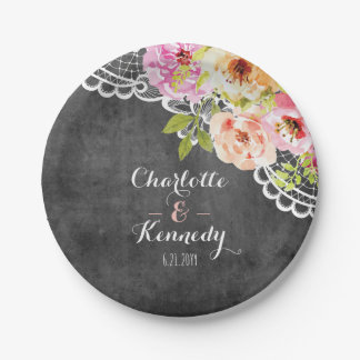 Rustic Farmhouse Wedding Roses & Lace Personalized 7 Inch Paper Plate