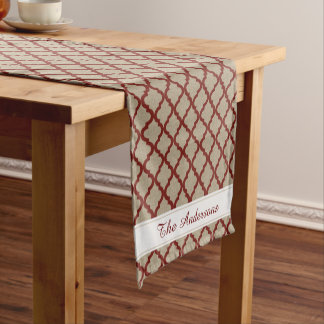 Rustic Faux Burlap and Red Moroccan Quatrefoil