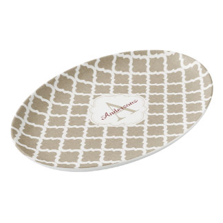 Rustic Faux Burlap and Red Moroccan Quatrefoil Porcelain Serving Platter