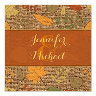 Rustic FAUX Burlap, Autumn Leaves Wedding Invite 3