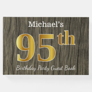 Rustic, Faux Gold 95th Birthday Party; Custom Name Guest Book