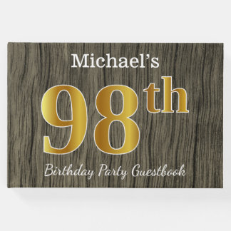 Rustic, Faux Gold 98th Birthday Party; Custom Name Guest Book
