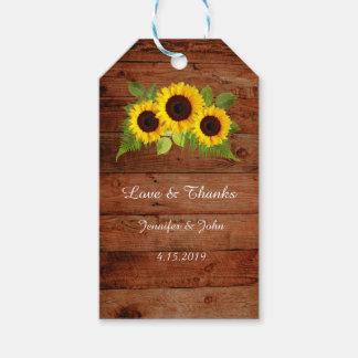 Rustic Fern Sunflowers Wedding Favor Gift Tag