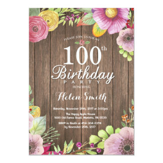 Rustic Floral 100th Birthday Invitation for Women