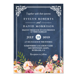 Rustic Floral Blue Chalkboard Formal Wedding 13 Cm X 18 Cm Invitation Card