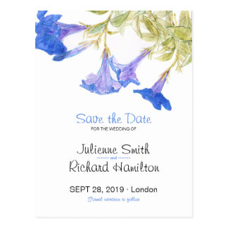 Rustic Floral | Blue Spring Save the Date Postcard