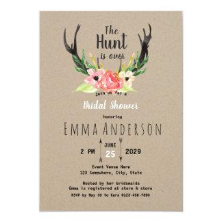 Rustic Floral Boho Hunt is Over Bridal Shower Card