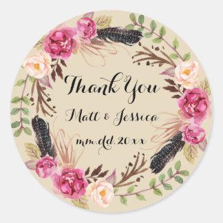 Rustic Floral Boho Wedding Thank You Sticker