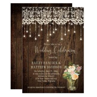 Rustic Floral Bouquet Mason Jar Lace Lights | Card