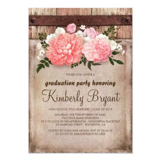 Rustic Floral Burlap Barn Wood Graduation Party Card