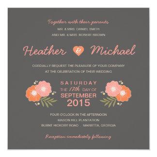 Rustic Floral Casual Wedding Invitations