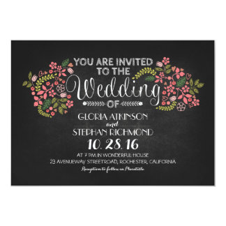 rustic floral chalkboard wedding invitations