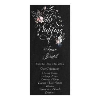 Rustic floral dark wedding program II Rack Card Template