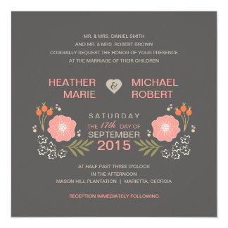 Rustic Floral Formal Style Wedding Invitations