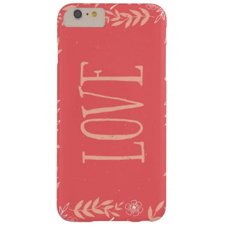 Rustic Floral Love | Pinkish Orange Barely There iPhone 6 Plus Case