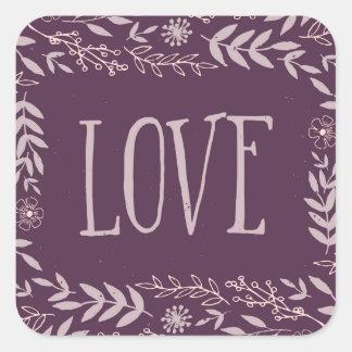 Rustic Floral Love | Purple | Square Sticker