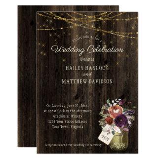 Rustic Floral Mason Jar Gold String Lights Wedding Card