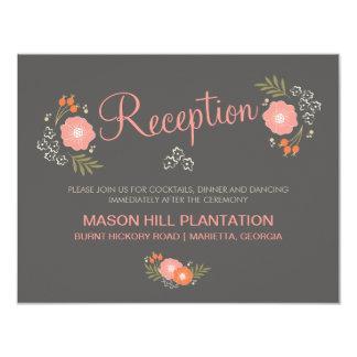 "Rustic Floral Reception Cards 4.25"" X 5.5"" Invitation Card"