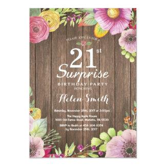 Rustic Floral Surprise 21st Birthday Invitation