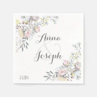 Rustic Floral Wedding Napkins III Disposable Serviette