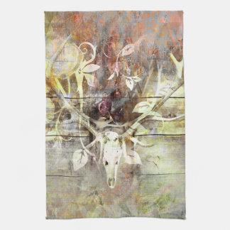 Rustic Floral Wood Grain Stag Skull Antlers Towels