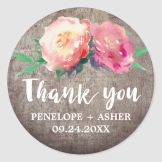 "Rustic Flower Bouquet ""Thank You"" Wedding Favor Classic Round Sticker"